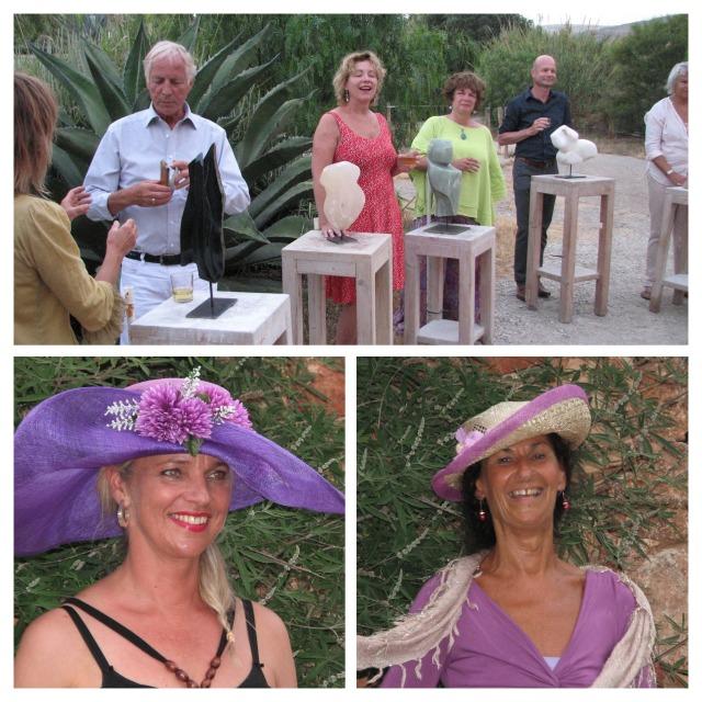 Enkele deelnemers aan de cursus beeldhouwen en de workshop hoeden maken.